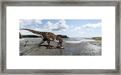 Tyrannosaurus Enjoying Seafood - Wide Format Framed Print by Julius Csotonyi