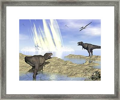 Tyrannosaurus Rex And Pteranodons Watch Framed Print by Elena Duvernay
