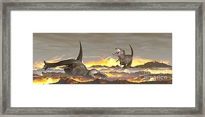 Tyrannosaurus Rex Dinosaurs Dying Framed Print by Elena Duvernay