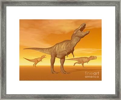 Tyrannosaurus Rex Dinosaurs In An Framed Print by Elena Duvernay