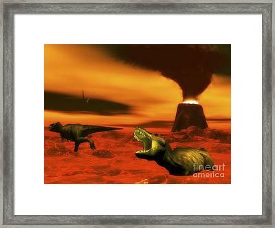 Tyrannosaurus Rex Dinosaurs Struggle Framed Print by Elena Duvernay