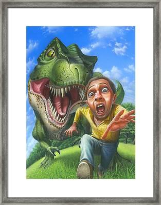 Tyrannosaurus Rex Jurassic Park Dinosaur - T Rex - Paleoart- Fantasy - Extinct Predator Framed Print by Walt Curlee