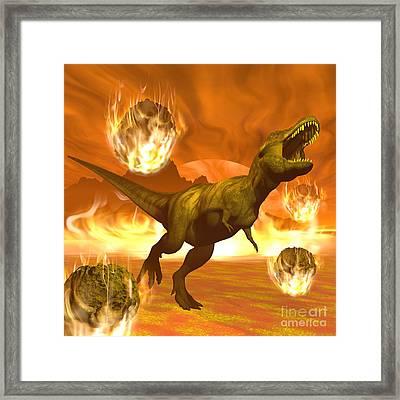 Tyrannosaurus Rex Struggles To Escape Framed Print by Elena Duvernay
