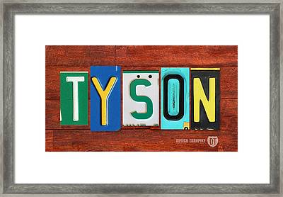 Tyson License Plate Name Sign Fun Kid Room Decor Framed Print
