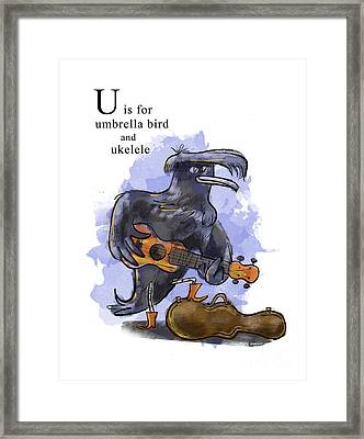 U Is For Umbrella Bird Framed Print by Sean Hagan