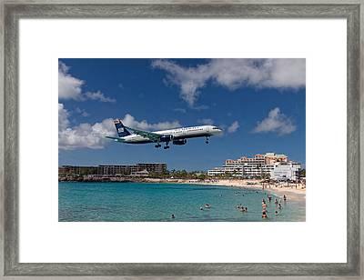 U S Airways Low Approach To St. Maarten Framed Print