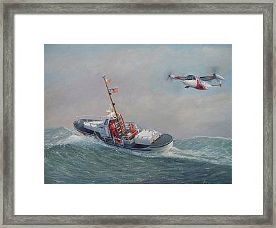 U. S. Coast Guard 44ft Motor Lifeboat And Tilt-motor Aircraft  Framed Print by William H RaVell III