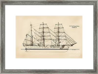 U. S. Coast Guard Cutter Eagle - Sepia Framed Print by Jerry McElroy - Public Domain Image