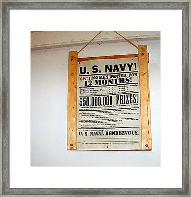 U. S. Navy Men Wanted Framed Print