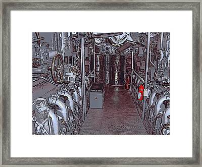 U S S Bowfin Submarine Engine Room Framed Print
