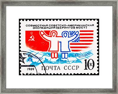 U S Soviet Friendship Expidition Crossing Bering Straits Framed Print