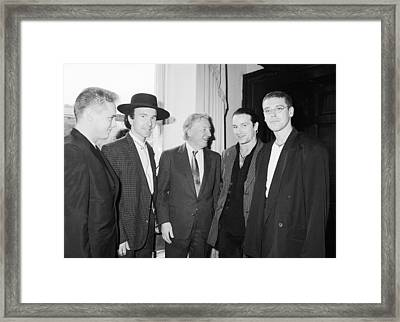 U2 Meet Taoiseach Charles Haughey Framed Print by Irish Photo Archive