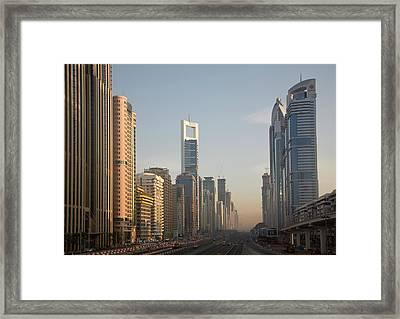 Uae, Dubai Towers Along Sheik Zayed Framed Print