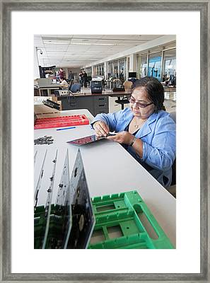 Uav Factory Construction Worker Framed Print by Jim West