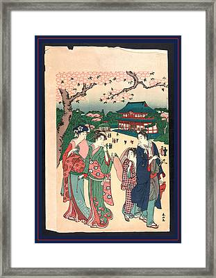 Ueno No Hanami, Cherry Blossom Viewing At Ueno Framed Print