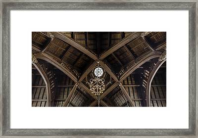 Uf University Auditorium Vaulted Wooden Arches Framed Print by Lynn Palmer
