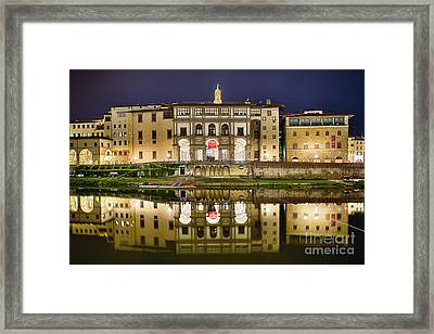 Uffizi Gallery Reflections Framed Print by George Oze