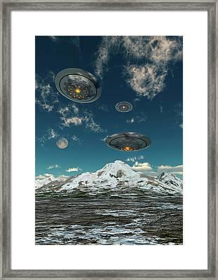 Ufos Flying Over A Mountain Range Framed Print by Mark Stevenson