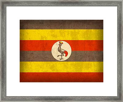 Uganda Flag Vintage Distressed Finish Framed Print