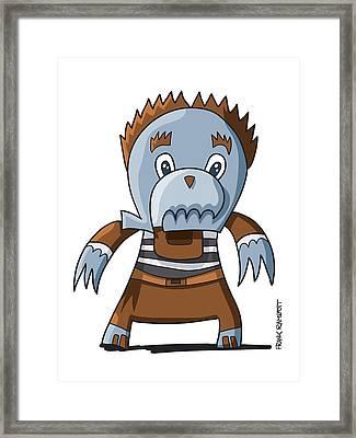 Ugly Cowboy Doodle Character Framed Print