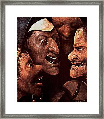 Framed Print featuring the digital art Ugly Faces by Hieronymus Bosch