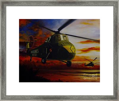 Framed Print featuring the painting Uh-34d Over The Beach by Stephen Roberson