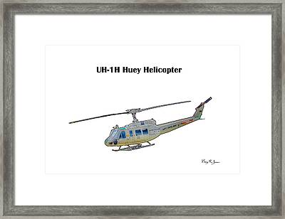 Uh-ih Huey Helicopter Framed Print by Barry Jones