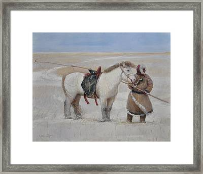 Ujumchin Herdsmen In Winter Pastures Framed Print