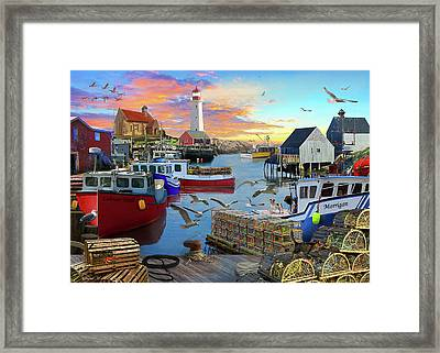 Framed Print featuring the drawing Uk Boat Cove by David M ( Maclean )