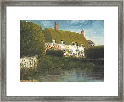Framed Print featuring the painting Uk Cottage by Diane Daigle