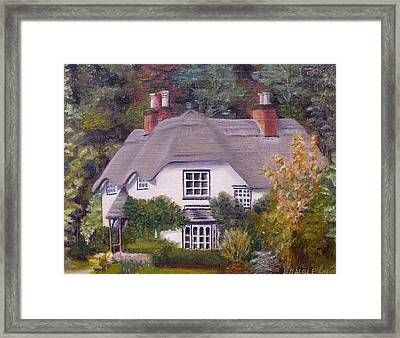 Framed Print featuring the painting Uk Thatched Cottage by Diane Daigle