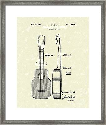 Ukelele 1940 Patent Art Framed Print by Prior Art Design
