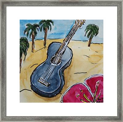 Ukulele At The Beach Framed Print