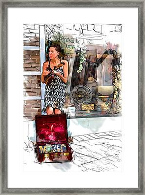 Ukulele Busker Framed Print