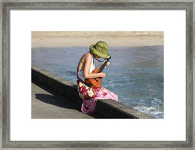 Ukulele Lady At Hanalei Bay Framed Print by Catherine Sherman