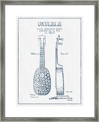 Ukulele Patent Drawing From 1928 - Blue Ink Framed Print by Aged Pixel
