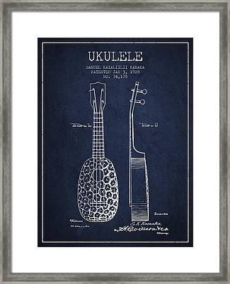 Ukulele Patent Drawing From 1928 - Navy Blue Framed Print by Aged Pixel