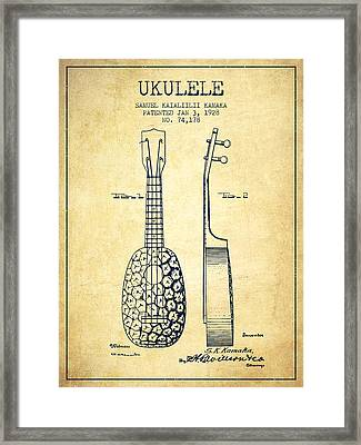 Ukulele Patent Drawing From 1928 - Vintage Framed Print by Aged Pixel