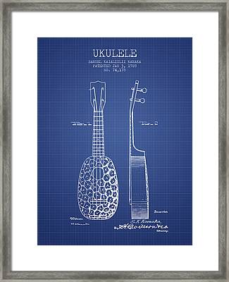 Ukulele Patent From 1928 - Blueprint Framed Print by Aged Pixel