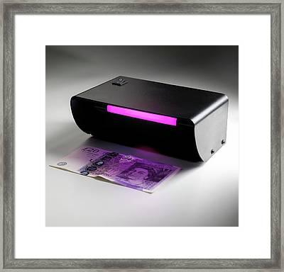 Ultraviolet Banknote Checker Framed Print