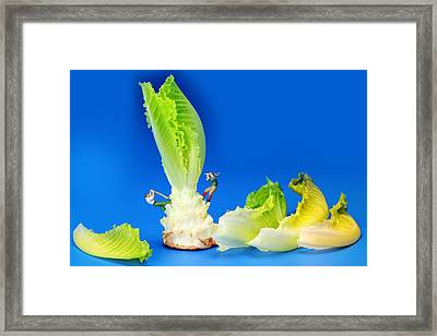 Lumber Workers Cutting Lettuce II Little People On Food Framed Print by Paul Ge