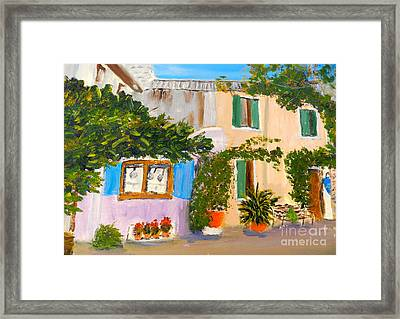 Framed Print featuring the painting Umbera Courtyard by Pamela  Meredith