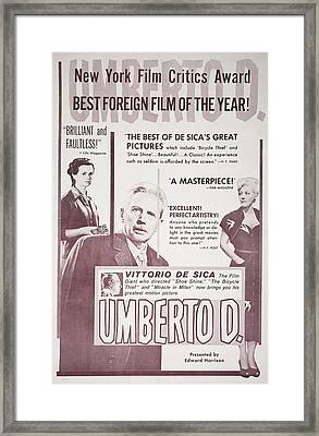 Umberto D., L-r Maria Pia Casilio Framed Print by Everett