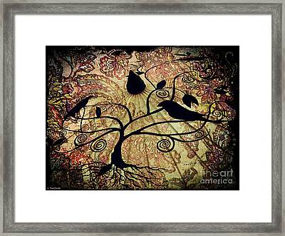 Umbrella Birds Framed Print by Christy Ricafrente