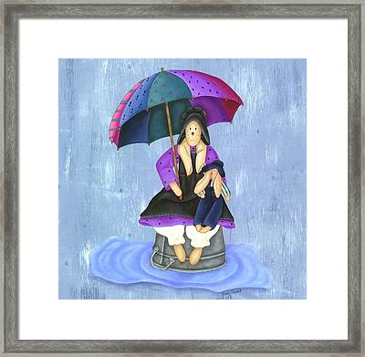 Umbrella Bunny Framed Print