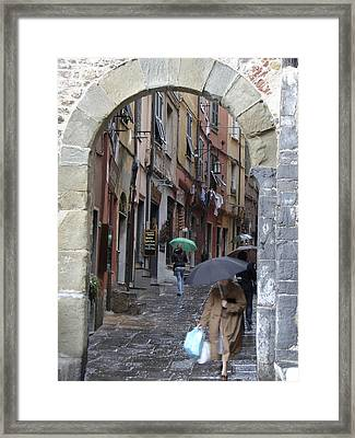 Umbrella Day Portovenere Italy Framed Print
