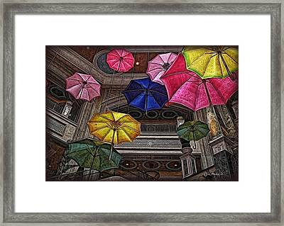 Umbrella Fun Framed Print by Joan  Minchak