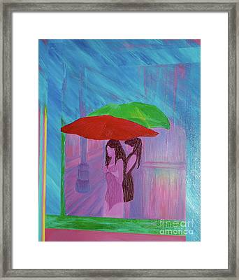 Framed Print featuring the painting Umbrella Girls by First Star Art