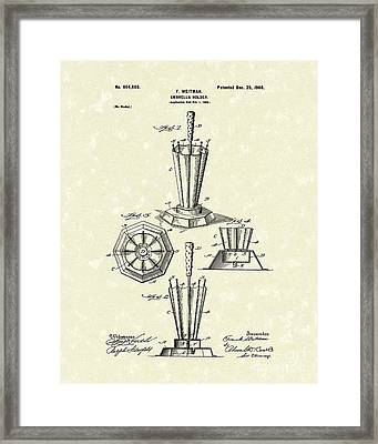 Umbrella Holder 1900 Patent Art Framed Print by Prior Art Design