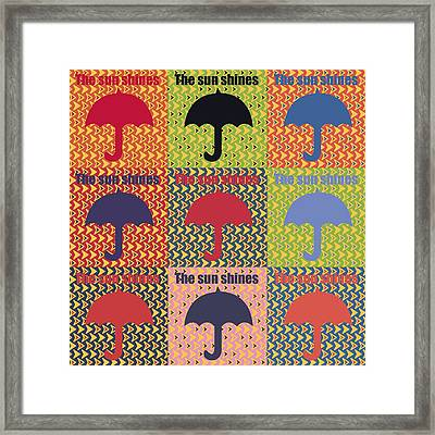 Umbrella In Pop Art Style Framed Print